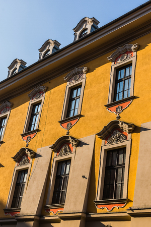 tenement: Facade of an ancient tenement in the Old Town in Krakow, Poland.