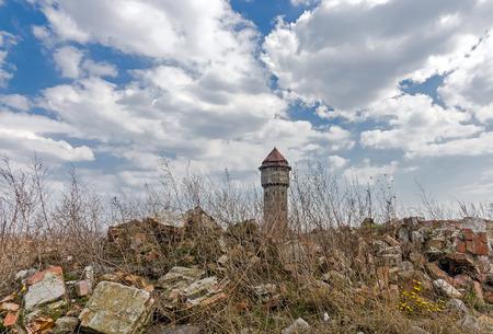 ironwork: Devastated water tower in former, Uthemann Ironwork in Katowice, Silesia region, Poland. Stock Photo