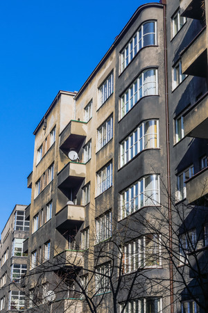 modernism: Facades of tenements built in the style of modernism in Katowice, Poland.