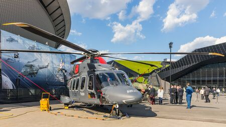 impeller: Katowice, Poland - April 21, 2015: Presentation of the AW149 multi-purpose helicopter during European Economic Congress, the largest event of this kind in Central Europe, held on 20-22 April, 2015.