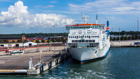 nus: Ystad, Sweden - August 15, 2014: Polish ferry Wawel at the quay in the port of Ystad. The ferry port provides services to Swinoujscie in Poland and forms  a part of the E65 trans-European route. Editorial