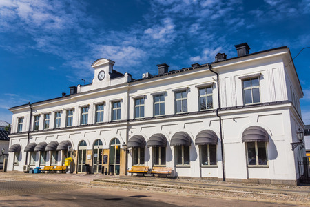 resumed: Karlskrona, Sweden - August 10, 2014: Train station in Karlskrona, provides direct links to Gothenburg, Malmo, Stockholm and other Swedish cities. In 2007 direct service to Copenhagen has been resumed
