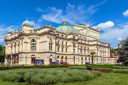 the distinguished: Krakow, Poland - Jun 3, 2015: Juliusz Sowacki Theatre in Krakw founded in 1893 in a beautiful Neo-Baroque edifice. The well-known theatre is considered one of the most distinguished Polish scenes. Editorial