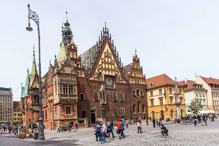 old town hall: Wroclaw, Poland - May 16, 2015: The Old Town Hall of Wrocaw in the Market Square. The Gothic building was developed between the 13th and 16th centuries nowadays remains the main citys landmark.