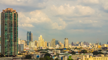 urbanscape: Bangkok, Thailand - October 31, 2014: Cityscape of Bangkok, capital of Thailand. The city occupies 1.568 square kilometers in the Chao Phraya River with a population of over 8 million inhabitants.