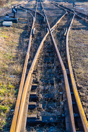 narrowgauge: Narrow-gauge railway side track in Bytom, Silesia region, Poland