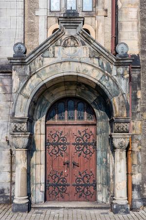 gory: Entrance to the Lutheran Church of the Saviour in Tarnowskie Gory, Silesia region, Poland. Stock Photo