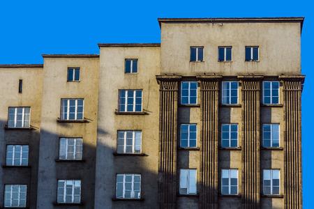 edifice: Facade of a modernistic edifice in  Katowice, Silesia region, Poland.