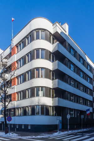 functionalism: House built in the style of modernism in Katowice, Poland. Editorial