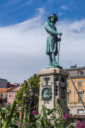 lasted: Monument to Charles XI of Sweden 1655-1697, king whose reign lasted from 1660 until his death at 1697.