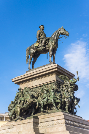 the liberator: Monument to Russian Tsar Alexander II, called locally the liberator, on March 20, 2013. Monument faces the National Assembly of Bulgaria with the Radisson Blu hotel behind. Stock Photo