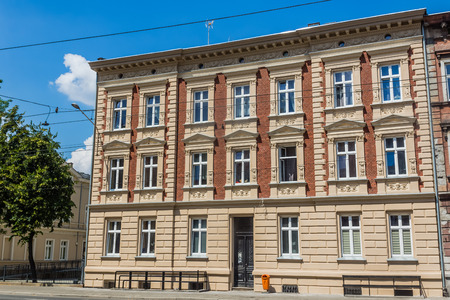 renovated: Facade of newly renovated stylish tenement in Katowice, Silesia region, Poland. Stock Photo