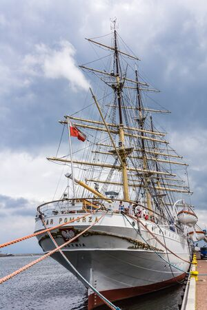 ship with gift: Gdynia, Poland - July 10, 2013: The Dar Pomorza Gift of the Pomerania sailing figate. Built in 1909, served as a training vessel for the Polish Naval Academy, preserved  as a museum ship.