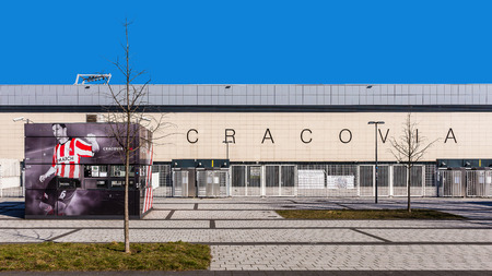 the existing: Krakow, Poland - March 8, 2015: Football stadium of Cracovia, the oldest continuously existing Polish sports club, founded in 1906, best known of its mens football section. Editorial