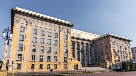 edifice: Katowice, Poland -  March 21, 2015: Seat of the local authorities of Silesia Voivodship in an old edifice built in the style of modernism. At the opening in 1929 the building was the largest in Poland.