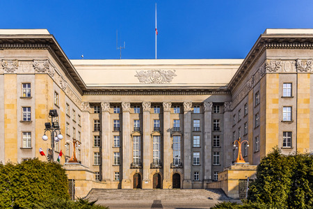 modernism: Katowice, Poland -  March 21, 2015: Seat of the local authorities of Silesia Voivodship in an old edifice built in the style of modernism. At the opening in 1929 the building was the largest in Poland.