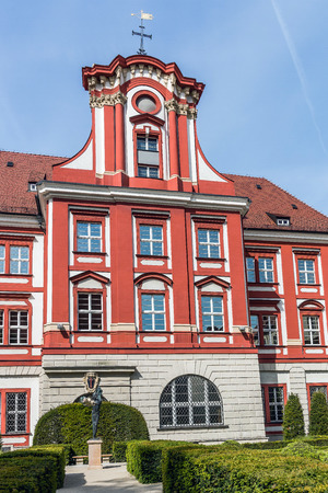 humanities: Wroclaw, Poland - May 16, 2015: Seat of The Ossolineum, well-known  scientific library,  specialized in the humanities, located in former monastery of The Knights of the Cross with the Red Star. Editorial