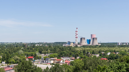power operated: Bedzin, Poland - June 05, 2015: Power and heating plant Lagisza operated by TAURON PKE SA. The unit has over 17 share in domestic electricity production and 16 in heat production on the local market. Editorial