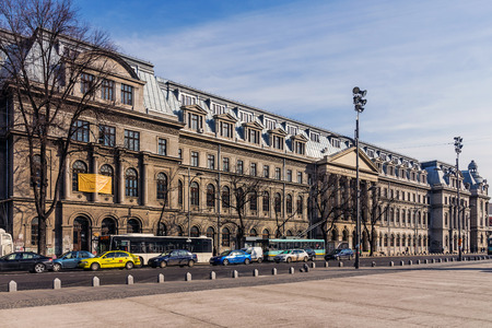 Bucharest, Romania - March 19, 2015: The University of Bucharest, a leading academic centre in Romania, founded by Constantin Brancoveanu, ruler of Wallachia in 1694 as the Academy of Saint Sawa. Editorial