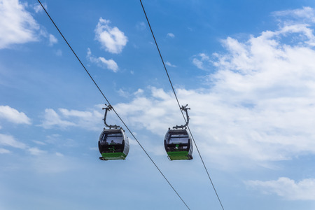 cableway: Chorzow, Poland - July 05, 2014: The ropeway in Silesia Park, the largest in the Silesian agglomeration, the most industrialized region in Poland. Gondolas are named after well-known local people.