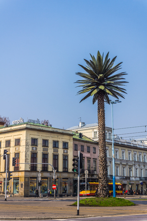 gaulle: Warsaw, Poland - March 28, 2014: Artificial palm in the middle of Charles de Gaulle roundabout in the downtown. Subject of many controversies, gradually became a  recognizable landmark of the city.