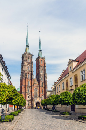 roman catholic: Wroclaw, Poland - May 16, 2015: The Cathedral of St. John the Baptist, the seat of the Roman Catholic Archdiocese of Wroclaw. Gothic church is located in the Ostrow Tumski the oldest part of the city Editorial