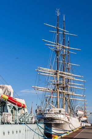 frigate: Gdynia, Poland - February 10, 2015: The Dar Pomorza Gift of the Pomerania sailing frigate. Built in 1909, served as a training vessel for the Polish Naval Academy, preserved as a museum ship.