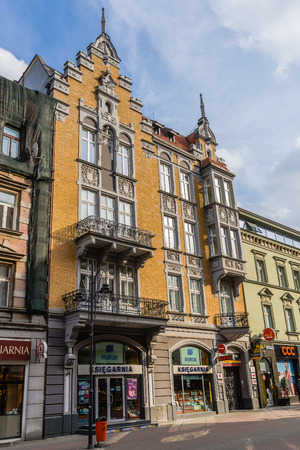 eclecticism: Katowice, Poland -  March 1, 2015: Ancient tenement at Stawowa street in the very downtown. Built in 1896 in the style of Historicism, designed by Ignatz Grunfeld, German architect of Jewish origin.
