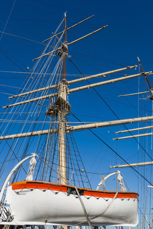 ship with gift: Gdynia, Poland - February 10, 2015: The Dar Pomorza Gift of the Pomerania sailing frigate. Built in 1909, served as a training vessel for the Polish Naval Academy, preserved as a museum ship.