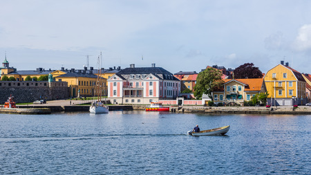 baroque architecture: KARLSKRONA, SWEDEN - AUGUST 10, 2014: Cityscape of Karlskrona. City is known for rare in Sweden baroque architecture and only remaining naval base and the headquarters of the Swedish Coast Guard.