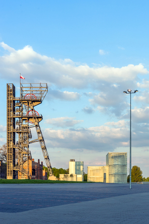 industrial heritage: KATOWICE, POLAND - MAY 02, 2015: The former coal mine Katowice, seat of the Silesian Museum at dusk. The complex combines old mining buildings and infrastructure with modern architecture.