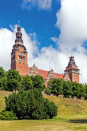 embankment: Szczecin, Poland - June 20, 2015: The Chrobry Embankment Waly Chrobrego, complex of terraces and edifices designed and built according to the concept of Wilhelm Meyer-Schwartau in the years of 1902-1921. Originally named Hakenterrasse in honor of then may