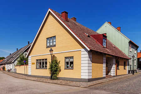 11th century: YSTAD, SWEDEN - AUGUST 6, 2015: Cityscape of Ystad. City founded in 11th century is a busy ferry port and the place of action of well-known novels by Henning Mankell with detective Wallander. Editorial