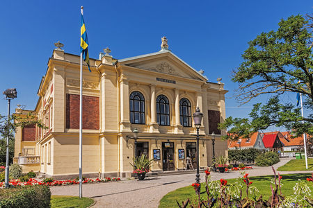 edifice: YSTAD, SWEDEN - AUGUST 6, 2015: Ystad Theater, beautiful edifice built in 1894 in neoclassical architectural style, designed by  Ystads first city architect Peter Boisen. Editorial
