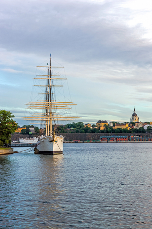 chapman: STOCKHOLM - AUGUST 10, 2015: The af Chapman, full-rigged steel ship launched in 1888, nowadays moored on the western shore of the Skeppsholmen islet in Stockholm serves as a youth hostel. Editorial
