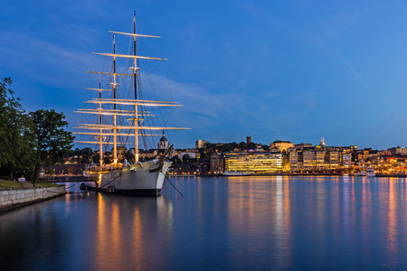 chapman: STOCKHOLM – AUGUST 10, 2015: The af Chapman, full-rigged steel ship launched in 1888, nowadays moored on the western shore of the Skeppsholmen islet in Stockholm serves as a youth hostel.