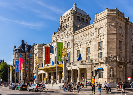 spoken: STOCKHOLM - AUGUST 10, 2015: The Royal Dramatic Theatre, Swedens national stage for spoken drama, founded in 1788. The theater is located in the Art Nouveau building at Nybroplan since 1908.
