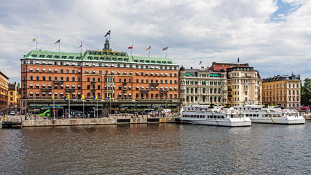 laureates: STOCKHOLM - AUGUST 11, 2015: Five-star The Grand Hotel Stockholm founded in 1872. Since 1901, the Nobel Prize laureates and their families have traditionally been guests at the hotel.