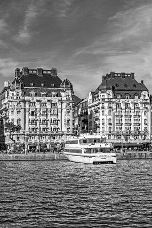 prestigious: STOCKHOLM - AUGUST 10, 2015: Hotels Diplomat and Esplanade on Strandvagen boulevard.  The avenue was completed for the Stockholm Worlds Fair in 1897, considered the most prestigious street in town. Editorial