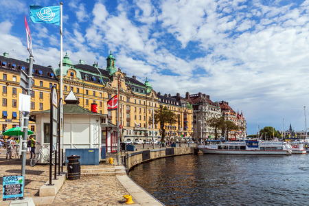 prestigious: STOCKHOLM - AUGUST 10, 2015: Scenes from Strandvagen,  a boulevard in Ostermalm district. Completed for the Stockholm Worlds Fair in 1897, nowadays considered the most prestigious avenue in town.