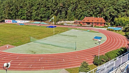 establishing: SOPOT, POLAND - AUGUST 15, 2015: The Forest Stadium built in the years 1923-1926 to commemorate 100th anniversary of establishing first baths in Sopot, a major health-spa and tourist resort in Poland.