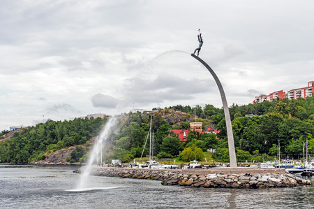 founding: STOCKHOLM - AUGUST 11, 2015: The famous sculpture God our Father on the Rainbow at Nacka Strand. Designed by Carl Milles 1875-1955 in 1946 as a tribute for peace and founding the United Nations.
