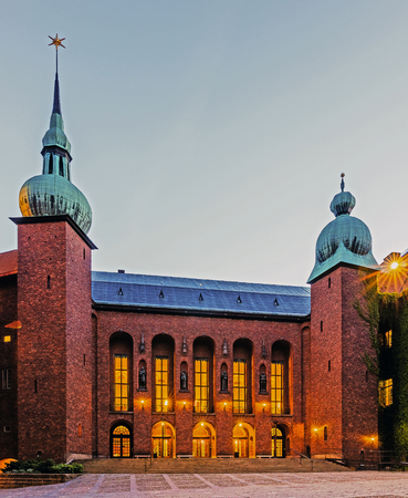 nobel: STOCKHOLM - AUGUST 10, 2015: Stockholm City Hall Stadshuset on the eastern tip of Kungsholmen, seat of the Municipal Council, venue of the Nobel Prize banquet, one of Stockholms major attractions.