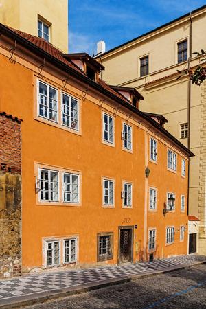 tenement: Facade of an ancient tenement in Prague, Czech Republic. Stock Photo