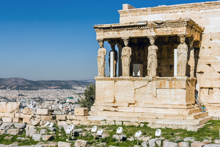 the archaic: The Old Temple of Athena, an archaic temple located on the Acropolis of Athens, built around 525-500 BC. Taken in Athens, Greece.