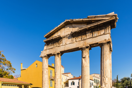 athena: The Gate of Athena Archegetis in thewest side of the Roman Agora, in Athens, Greece, built during the Roman period. Stock Photo