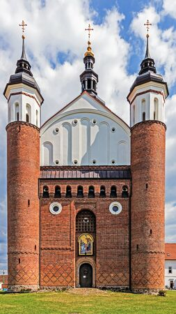 fortified: Orthodox Church of the Annunciation of the Blessed Virgin Mary. Fortified church was built in the 16th century, destroyed during WW II, recently fully rebuilt. Stock Photo