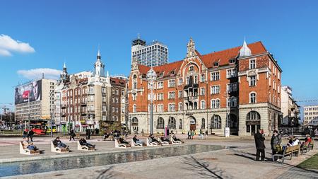 KATOWICE, POLAND - MARCH 26, 2017: Cityscape of Katowice, city in southwestern Poland, center of the Silesian Metropolis. The metropolitan area is the 16th most economically powerful city in the EU.