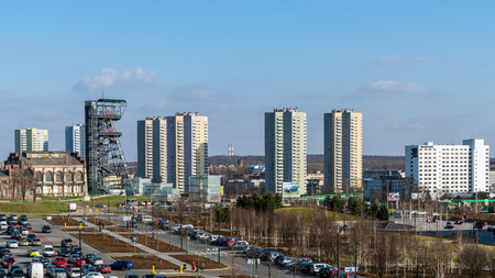 KATOWICE, POLAND - MARCH 26, 2017: View of Walenty Rozdzienski District built in the years 1970-1978, locally called The Stars as the basis of blocks are designed in the shape of eight-pointed stars.