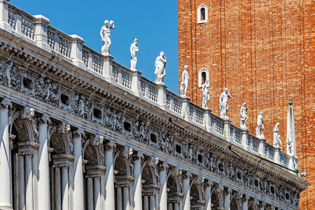 Architecture in the Piazza San Marco (St Marks Square), the main public square in the city and its religious and political center, one of the best known worlds landmarks.
